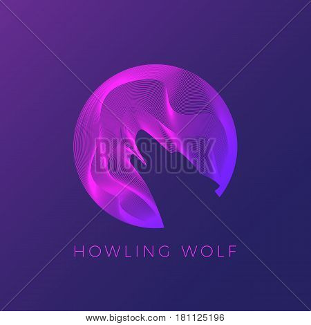 Wolf Silhouette Howling on The Moon. Abstract Modern Logo Template, Vector Sign or Line Illustration. On Dark Background