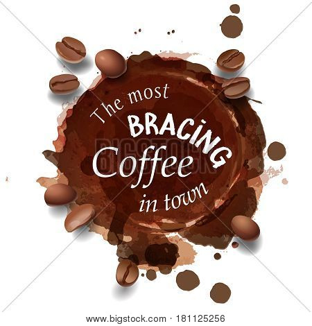 illustration of a coffee stain and coffee beans. Advertising Space.