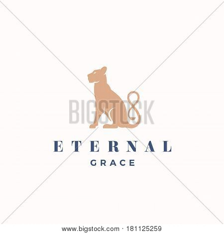 Eternal Grace Abstract Vector Sign, Emblem or Logo Template. Gracefull Sitting Lioness Silhouette with the Infinity Symbol Tail. Isolated.
