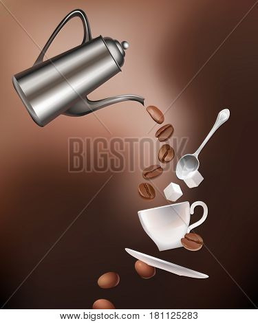 illustration of a coffee pot, coffee beans, cup, saucer, spoon and sugar lumps