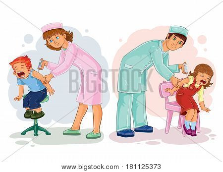 Set of clip art illustrations of little children getting vaccinations