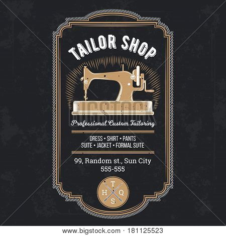 illustration of classic tailor emblem and signage
