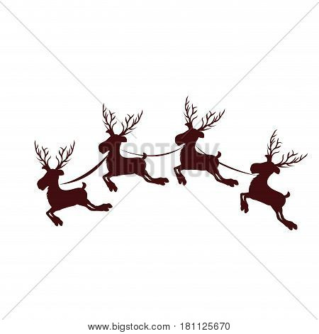 monochrome silhouette with set of four reindeers with scarves vector illustration