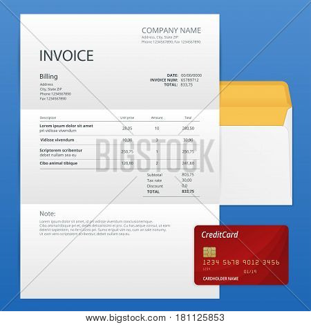 Single Invoice and credit card. Payment and billing invoices, business or financial operations sign. Vector icon invoice for services rendered.