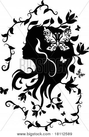 Doodle grafic drowing of beautifull woman with flowers in her hair poster