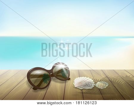 Sunny Beach Mock Up. Wooden Board Plank Table Floor. Sunglasses Sea Ocean Blue Sky Waves Vacation Pa
