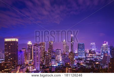 urban night cityscape on twilight time and cloud movement - can use to display or montage on product