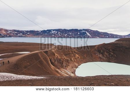 Icelandic giant volcano Askja with two crater lakes, turquoise with warm geothermal water, Iceland