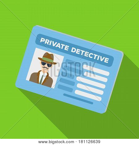 Documents of a private detective. Card that shows the personality of the detective.Detective single icon in flat style vector symbol stock web illustration.