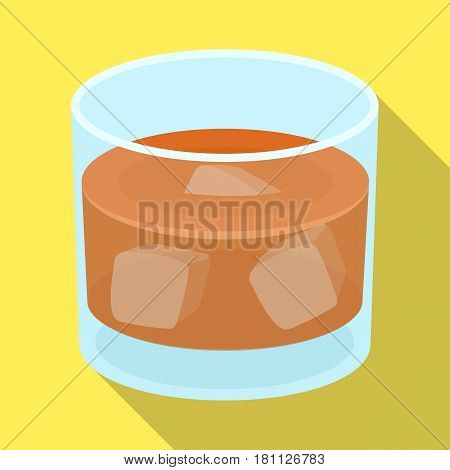 Glass glass of whiskey with ice. Alcoholic beverage of the detective.Detective single icon in flat style vector symbol stock web illustration.