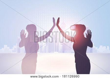 Silhouette Business Woman Wear Virtual Reality Digital Glasses Flat Vector Illustration