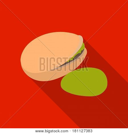 Green pistachio in the shell.Different kinds of nuts single icon in flat style vector symbol stock web illustration.