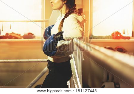 Beautiful Boxing Girl In Blue Gloves Posing In The Ring. Training At The Gym. Sporty Female Doing Bo