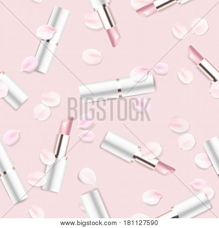 Fashion accessories collection. Lipstick with rose flower petals. Spring style cosmetics background. White and pink soft color romantic vector seamless pattern design.