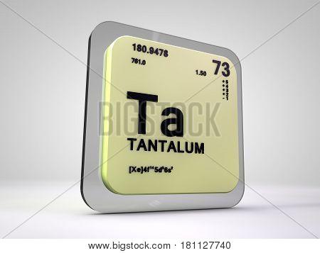 Tantalum- Ta - chemical element periodic table 3d render