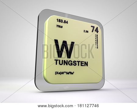 Tungsten- W - chemical element periodic table 3d render