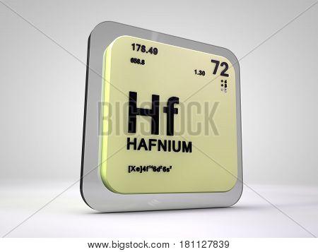 hafnium- Hf - chemical element periodic table 3d render