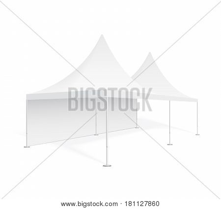 Big mobile marquee for trade show weddings and events. Promotional outdoor event pop-up white tent. Realistic 3D mockup template for your design isolated on background. Product advertising vector.