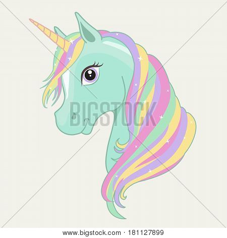 Green mint unicorn vector head with rainbow mane and horn. Unicorn isolated on background.