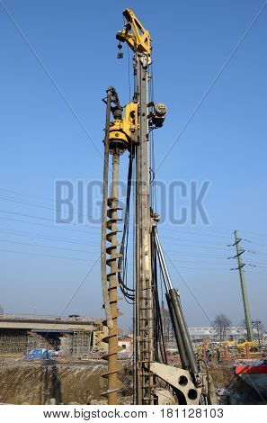Big drilling machine on the construction site