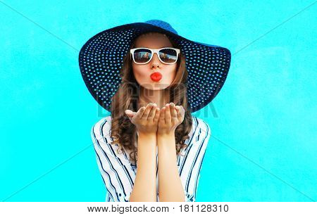 Fashion Portrait Pretty Woman With Red Lips Is Sends An Air Kiss In Straw Summer Hat Over Colorful B