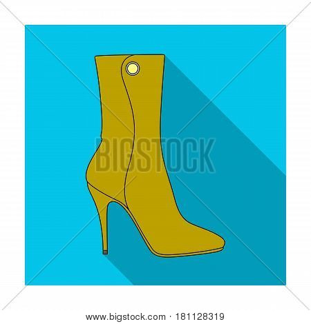 Demi tall womens boots high heel.Different shoes single icon in flat style vector symbol stock web illustration.