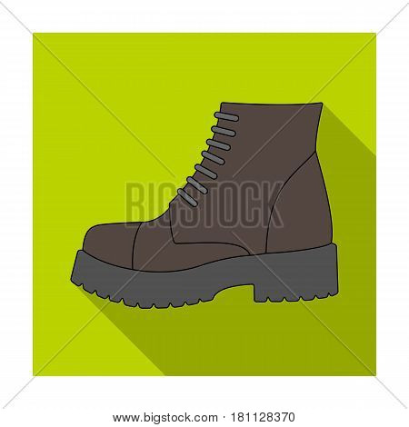 Men brown shoes with thick soles. Shoes for nonconformists.Different shoes single icon in flat style vector symbol stock web illustration.