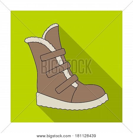 Tall winter boots made of wool with Velcro. Shoes for explorers.Different shoes single icon in flat style vector symbol stock web illustration.