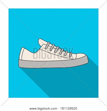 white sneakers unisex lace up. Shoes for sports and daily life.Different shoes single icon in flat style vector symbol stock web illustration.