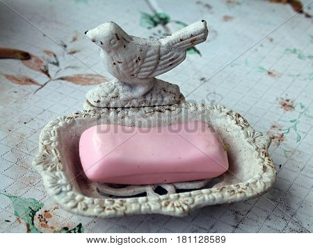Vintage Bird Soap Dish with a Bar of Pink Soap