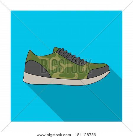 Rag camouflage sneakers for everyday wear.Different shoes single icon in flat style vector symbol stock web illustration.