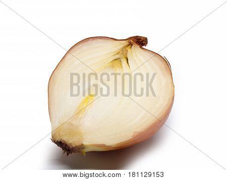 Closeup Ripe onion Put on a white background.