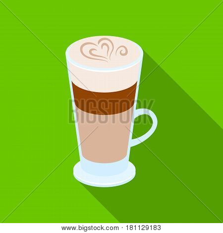 Cup of coffee macchiato with foam. Different types of coffee single icon in flat style vector symbol stock illustration .