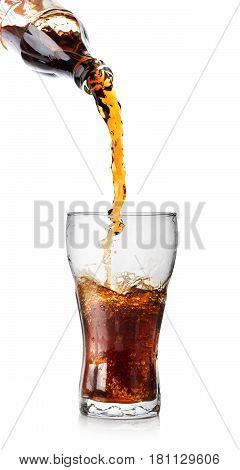 Bottle and glass of cola isolated on white