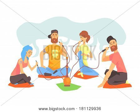 Young Cool People Smoking Hookah Sitting On The Floor Illustration With Smokers And Vapers. Cartoon Vector Characters Using Alternative Ways To Smoke Tobacco.
