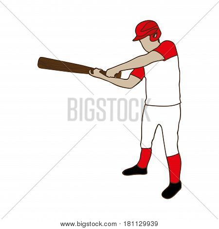 silhouette color of baseball player with baseball bat vector illustration
