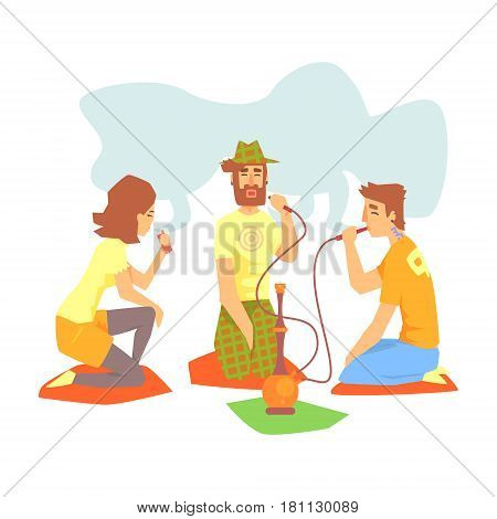 Young Cool People Smoking Hookah And Vaporizer Sitting On The Floor Illustration With Smokers And Vapers. Cartoon Vector Characters Using Alternative Ways To Smoke Tobacco.