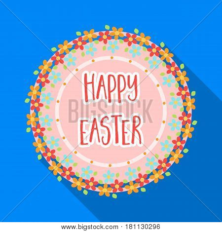 Sticker happy Easter. Easter single icon in flat style vector symbol stock web illustration.