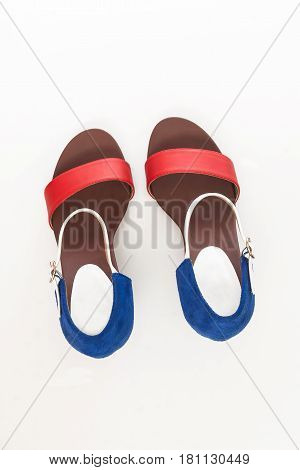 Fashion women's sandals with heels top view isolated.