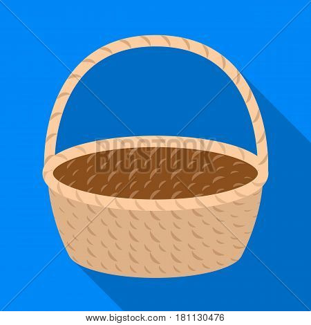 Wicker basket made of twigs. Easter single icon in flat style vector symbol stock web illustration.