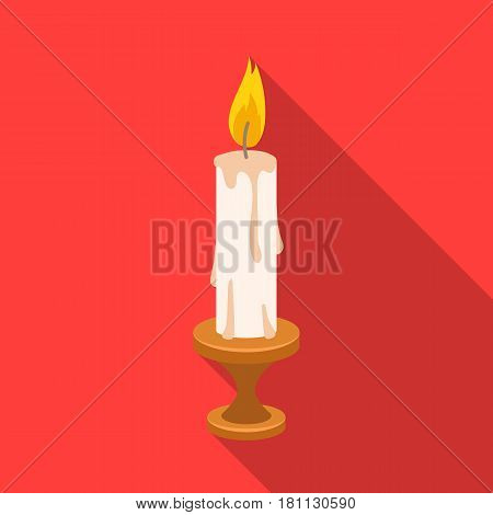 burning candle from paraffin wax. Easter single icon in flat style vector symbol stock web illustration.