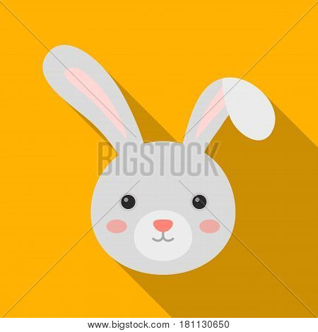 Grey rabbit with long ears. Easter single icon in flat style vector symbol stock web illustration.