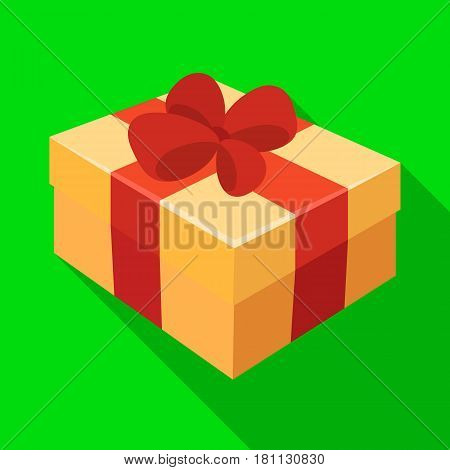 Gift wrapping for Easter. Easter single icon in flat style vector symbol stock web illustration.