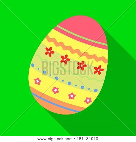 Dyed patterns egg for Easter. Easter single icon in flat style vector symbol stock web illustration.