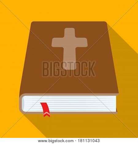 Book with a cross on the cover. The Bible. Easter single icon in flat style vector symbol stock web illustration.