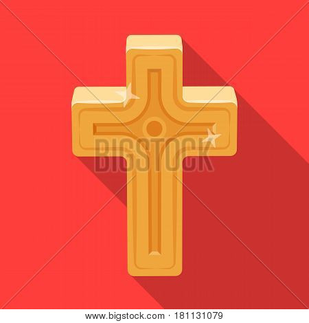 Golden cross. Easter single icon in flat style vector symbol stock web illustration.