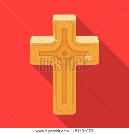 Golden cross. Easter single icon in flat style vector symbol stock web illustration.