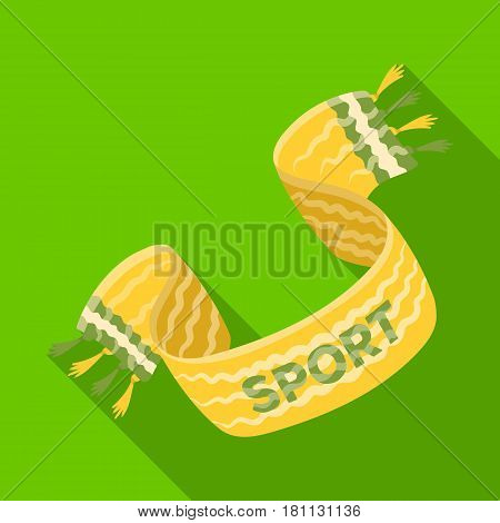 Yellow soccer fan scarf. Fans single icon in flat  vector symbol stock illustration.