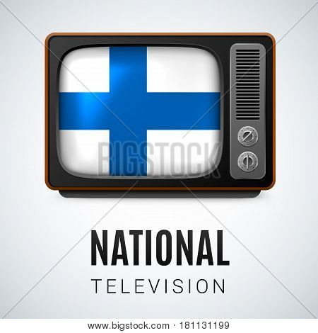 Vintage TV and Flag of Finland as Symbol National Television. Button with Finland flag