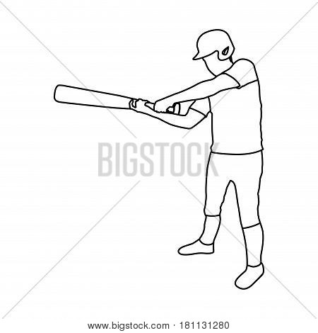 monochrome contour of baseball player with baseball bat vector illustration